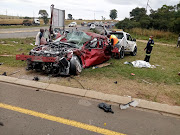 Six of the 10 people who were killed when this Mazda 3 collided with a bakkie on the R34 in Vryheid  on Tuesday were related.