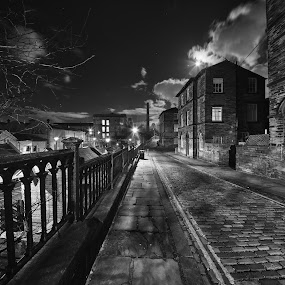 Old street in Saltaire by Andrew Holland - Black & White Buildings & Architecture