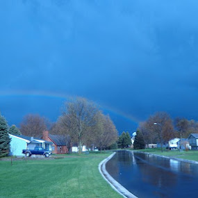 Low Rainbow by Scott Valenzuela - City,  Street & Park  Neighborhoods ( clouds, street, rainbow, rain, city )