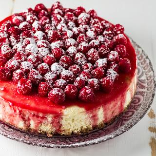 Classic Cheesecake with Raspberry Sauce.