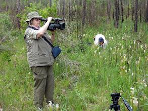 Photo: Irmgard and Brian Barnes filming Sarracenia leucophylla at Splinter Hill Bog Preserve in Alabama.