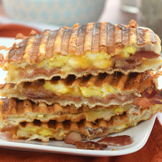 Bacon and Eggs Biscuit Breakfast Panini.
