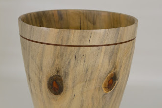 "Photo: Richard Webster 6 1/2"" x 8"" vase [Norfolk Island pine] (detail)"