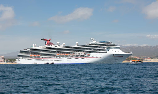 Carnival Miracle moored in the bay of Cabo San Lucas, Mexico.