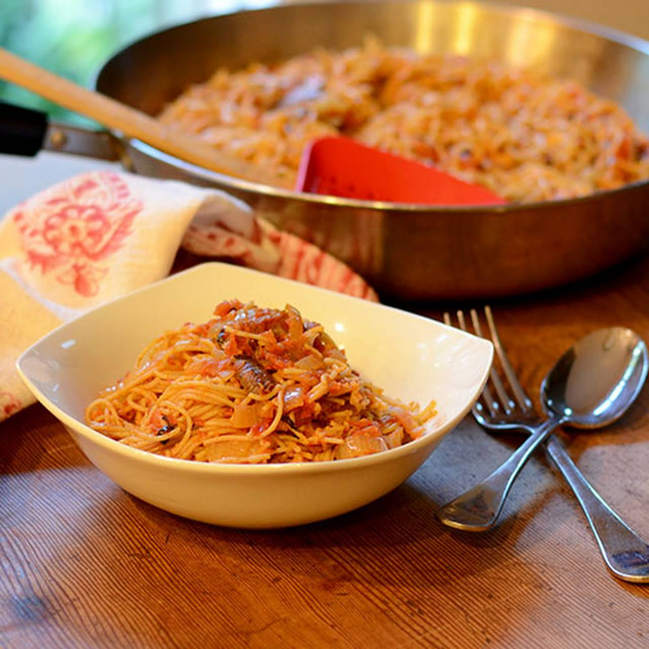 Angel Hair Pasta With a Roasted Tomato Onion Sauce