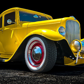 Old Classic Ford by George Bloise - Transportation Automobiles ( old car, yellow, 1950, ford, classic, custom )