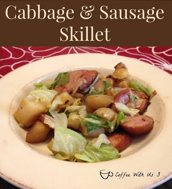 For complete directions: http://www.coffeewithus3.com/cabbage-and-sausage-skillet/