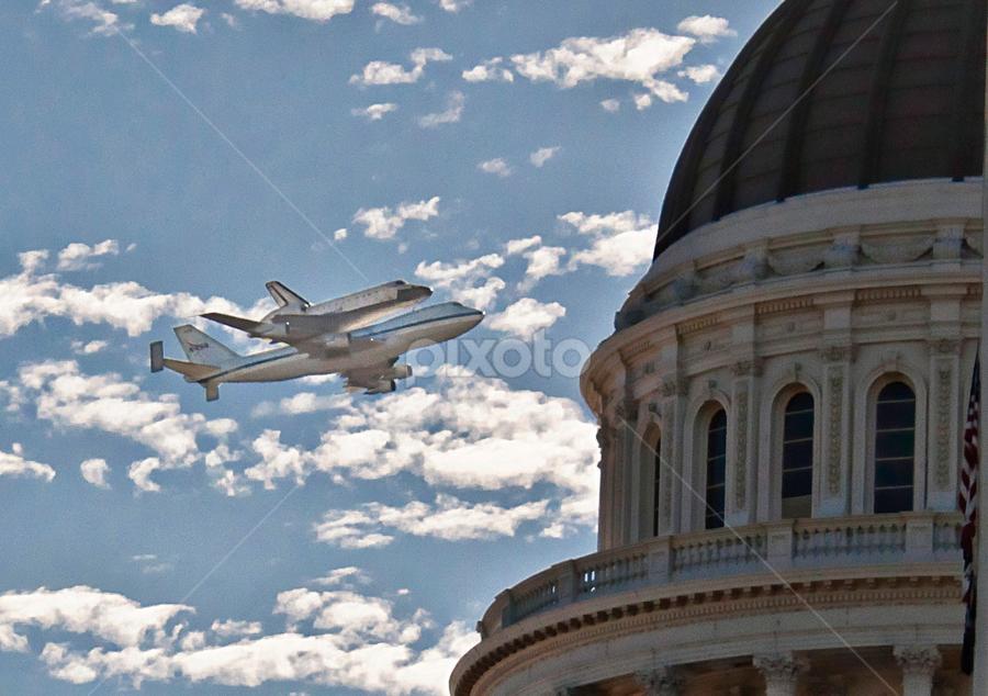 Endeavor flies over CA State Capitol Bldg. by Kati Garner - News & Events World Events ( endeavor, shuttle, flyover )