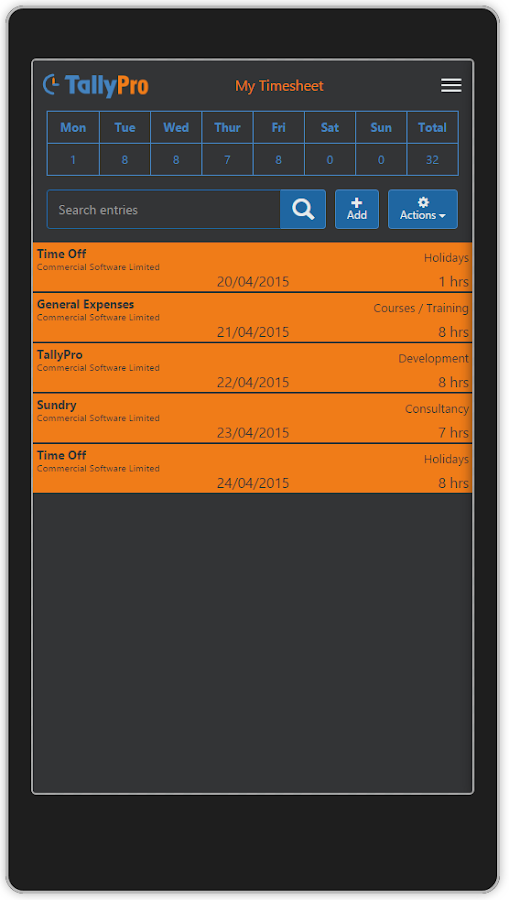 TallyPro Mobile App- screenshot