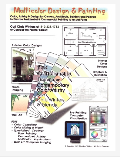 Photo: Creativity - Flyer emphasizing computer imaging in early days.  A bit of history - Photoshop, the popular imaging software, was once called PhotoMac owned by Digital Translations before Adobe.  I traded PC R&D services to a commercial film developing facility.  They develop my photos to images painted in software before color printers were adequate to do the job.