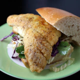 Crispy Curry Catfish Sandwich with Chili-Lime Slaw.
