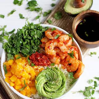 Spicy Shrimp, Mango and Avocado Sushi Bowl.