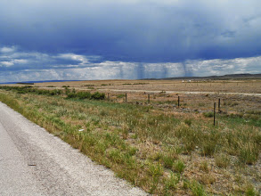 Photo: Day 20 Riverton to Casper WY 120 miles, 2500' climbing: As we are about 30 miles outside Casper, we can see showers in distance