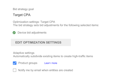 Bing Shopping Campaign Bid strategy settings in campaign editor. Mobile bid adjustments check box selected. And under Adaptive settings, Product groups check box selected.