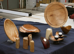 Photo: Margaret brought a small selection of her regular turnings, along with some examples of items made by cutting up turned pieces.