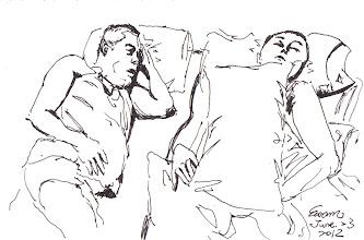 Photo: 同牢獄夢2012.06.23鋼筆 看到入睡的收容人我就會想,要這麼跟不認識的人睡在一起,從幾天、幾月、幾年,甚致數十年,坐牢真的好可怕呀!