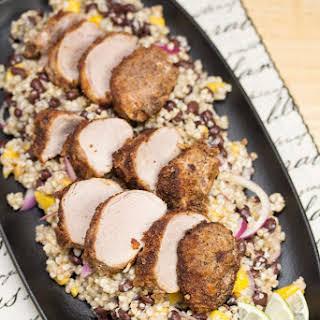 Veggie-and-Spice-Crusted Pork Tenderloin with Tropical Buckwheat Salad.