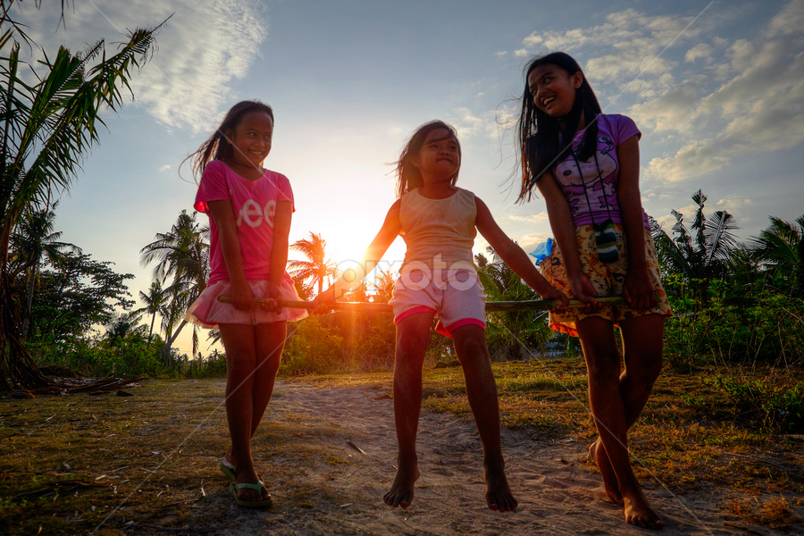 Sisters Playing by Ferdinand Ludo - Babies & Children Children Candids ( playing, hot summer day, sunset, bantayan island,  )