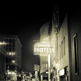late night drinks by Ashlee Bear - Black & White Street & Candid ( alcohol, neon, street )