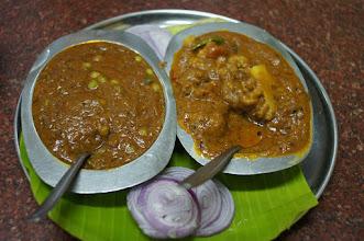 Photo: Alo Gobi Curry (Potatoes and Cauliflower)  and Pea Masala - Spicy Chennai India