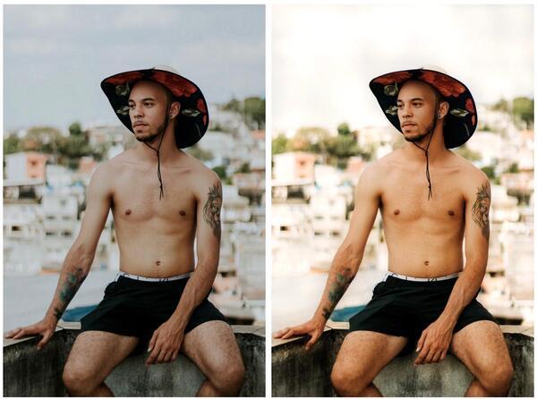 Montagem de duas fotos de uma homem negro sentado em um muro, com uma paisagem de casas desfocadas ao fundo. Ele está sem camisa e com um chapéu preto florido.