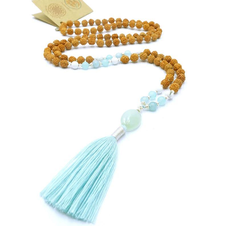Akvamarin Intuition Mala halsband rudraksha