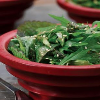 Spicy Green Salad with Soy & Roasted Garlic Dressing.