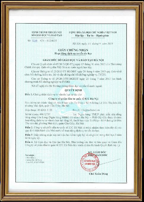 giấy phép hoạt động trung tâm nhật ngữ