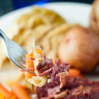 Slow Cooker Apple and Brown Sugar Corned Beef and Cabbage.