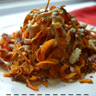 Sweet Potato Fries with Bacon & Blue Cheese