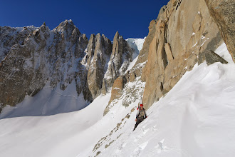 Photo: Traversing the lower snowfields
