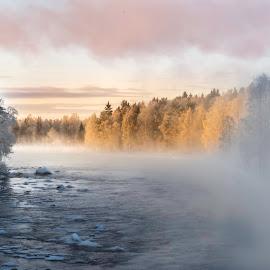 by Marko Paakkanen - Uncategorized All Uncategorized ( tranquil, sunset, travel, landscape, river, mist,  )