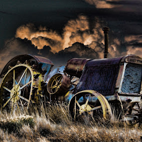 McCormick Deereing Tractor by Greg Harcharik - Transportation Other ( wyoming edited, vintage, dramatic, mccormick, tractor )