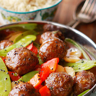 Sweet and Sour Asian Meatballs with Vegetables.