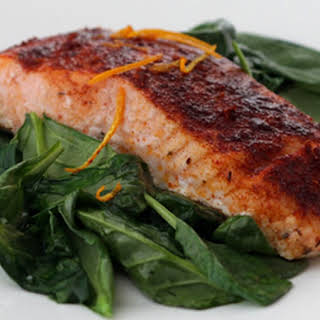 Smoked Paprika Roasted Salmon with Wilted Spinach.