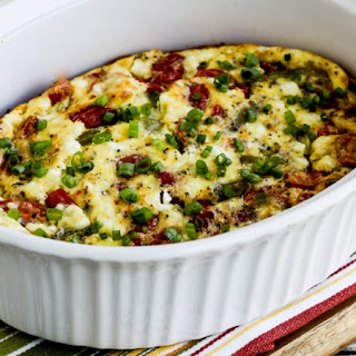 Roasted Green Bell Pepper and Roasted Tomato Breakfast Casserole with Feta and Oregano.
