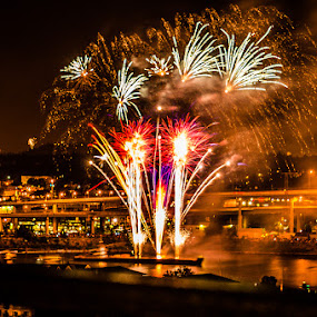 Waterfront Fireworks by Dennis Mai - Public Holidays July 4th ( fireworks, independence, july 4th )
