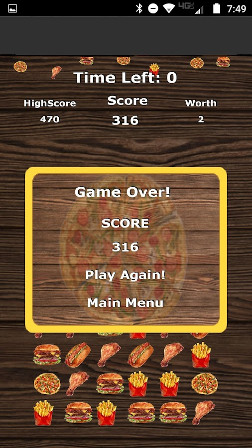 Pizza Burger Crush Game Free- screenshot