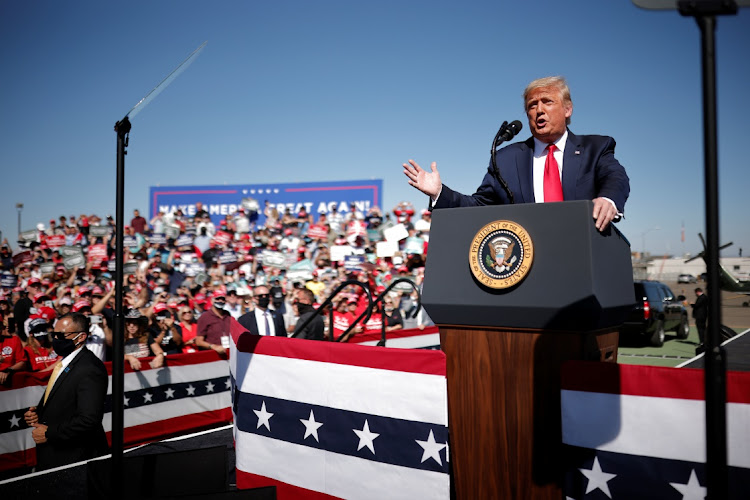 US President Donald Trump speaks during a campaign rally at Prescott Regional Airport in Arizona, the US, October 19 2020. Picture: REUTERS/CARLOS BARRIA