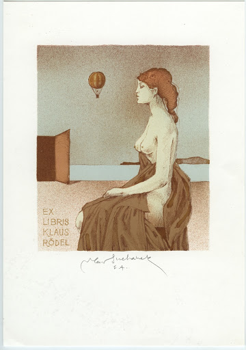 244. Bookplate. KLAUS RÖDEL. Seated girl, flying baloon.