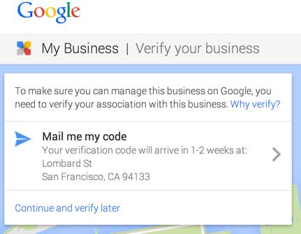 Google Mijn Bedrijf verificatie code