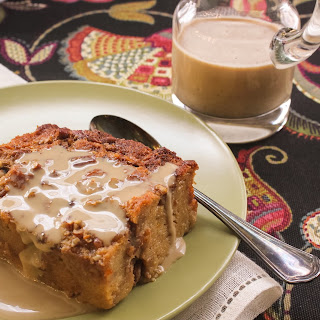 Cane Syrup Pecan Bread Pudding with Espresso Creme Anglaise