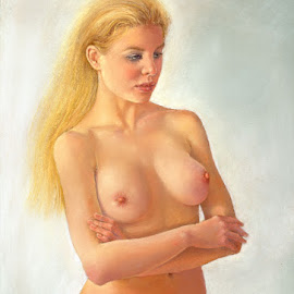 La Rubia by Margaret Merry - Drawing All Drawing ( pastel, blonde, figure study, nude, female, drawing, figurative art )