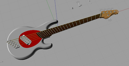 Photo: The entire bass, with strings and frets. I think I've forgotten to un-hide the nut when taking this screenshot :) Then again, maybe not. I don't know, let's vote.