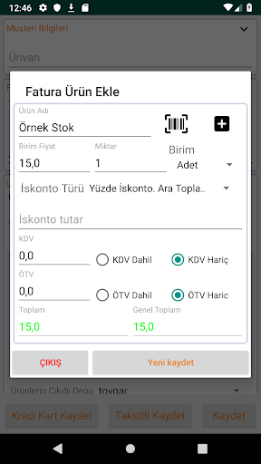 Bilsoft Mobil Ön Muhasebe V2.1 Beta screenshot 5