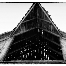 Seifs barn by Gayle Mittan - Black & White Buildings & Architecture ( roof, door, open door, rafters, nebraska, old barn, building, angular, barn, wooden, hay loft, dark, barn detail, black and white, midwest, abandoned, architecture )
