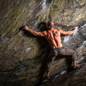 Diesel Selfie by Matthew Robertson - Sports & Fitness Climbing ( rock climbing, night sessions, back, exercise, lincoln woods, flash photography, diesel, climbing, fit, strong, muscles, night, me, crushing, workout, bouldering )