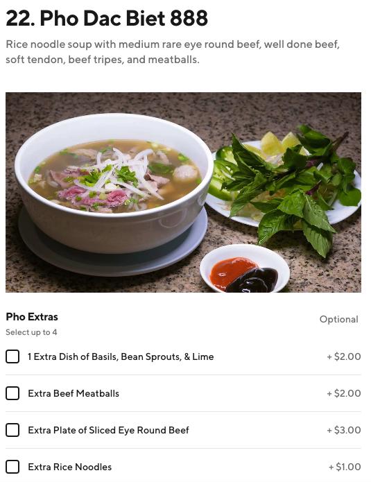 menu customization