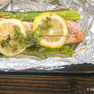 Foil Baked Salmon with Asparagus.