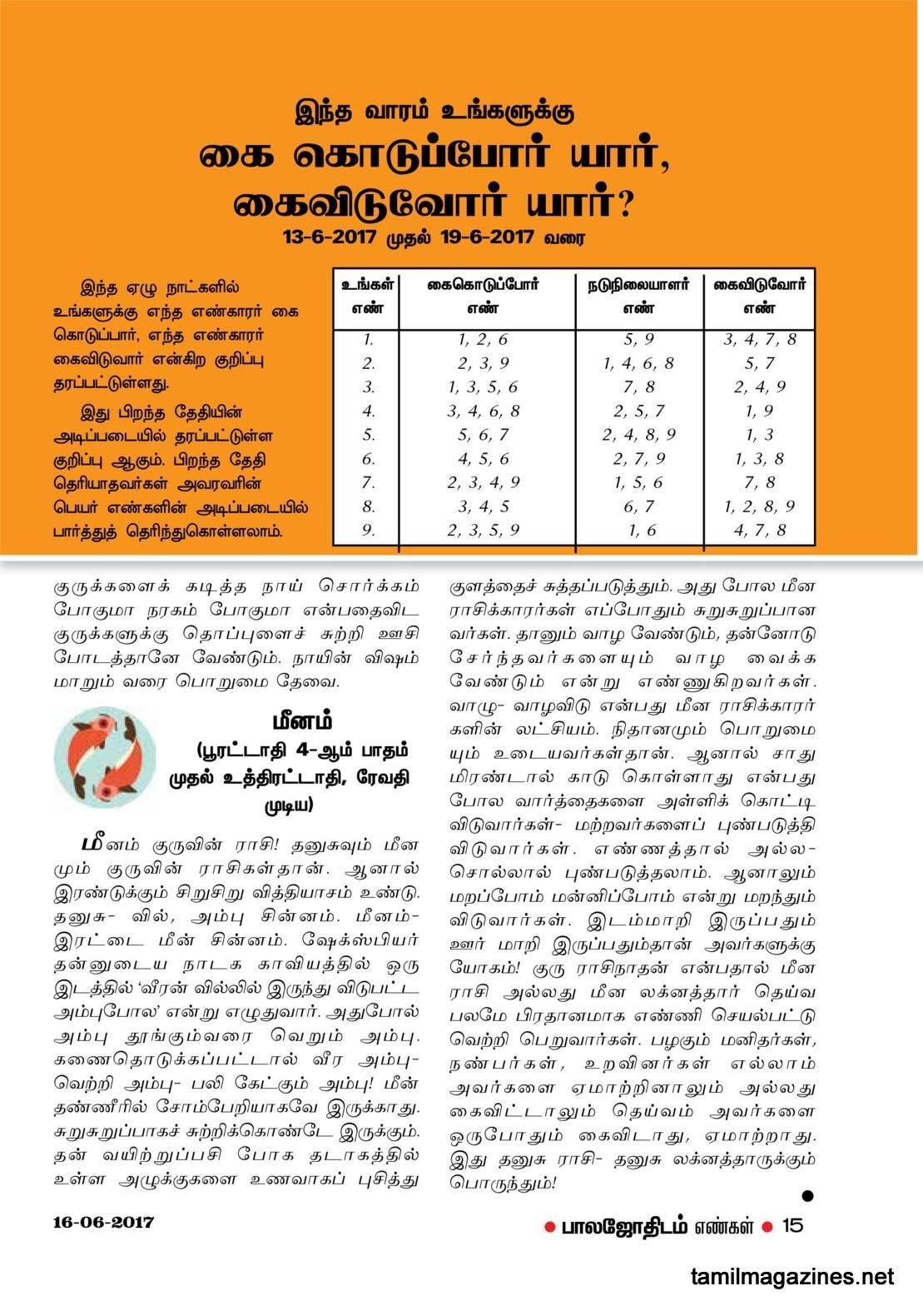 Balajothidam Raasi Palan June 13-19, 2017